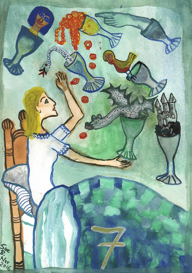 Tarot Painting - Seven Of Cups And Strange Dreams by Sushila Burgess