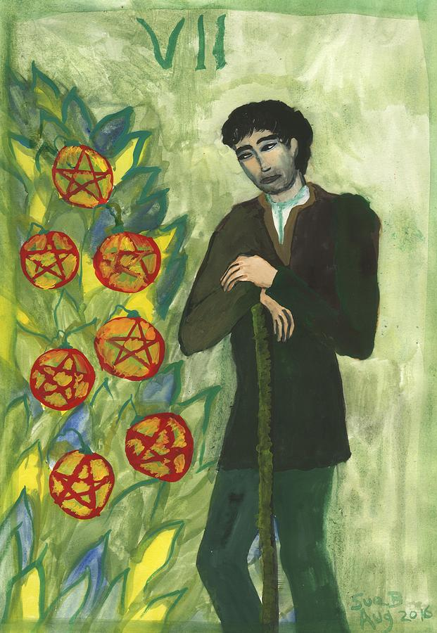 Tarot Painting - Seven Of Pentacles Illustrated by Sushila Burgess