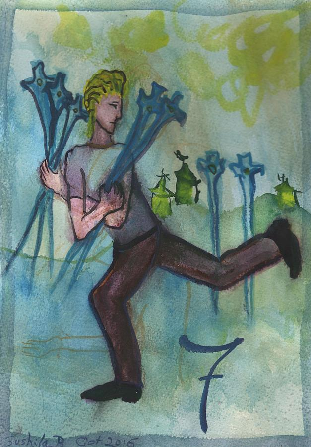 Tarot Painting - Seven Of Swords Illustrated by Sushila Burgess