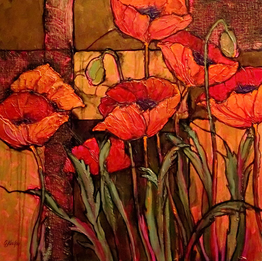 Poppies Painting - Seven Poppies by Carol  Nelson