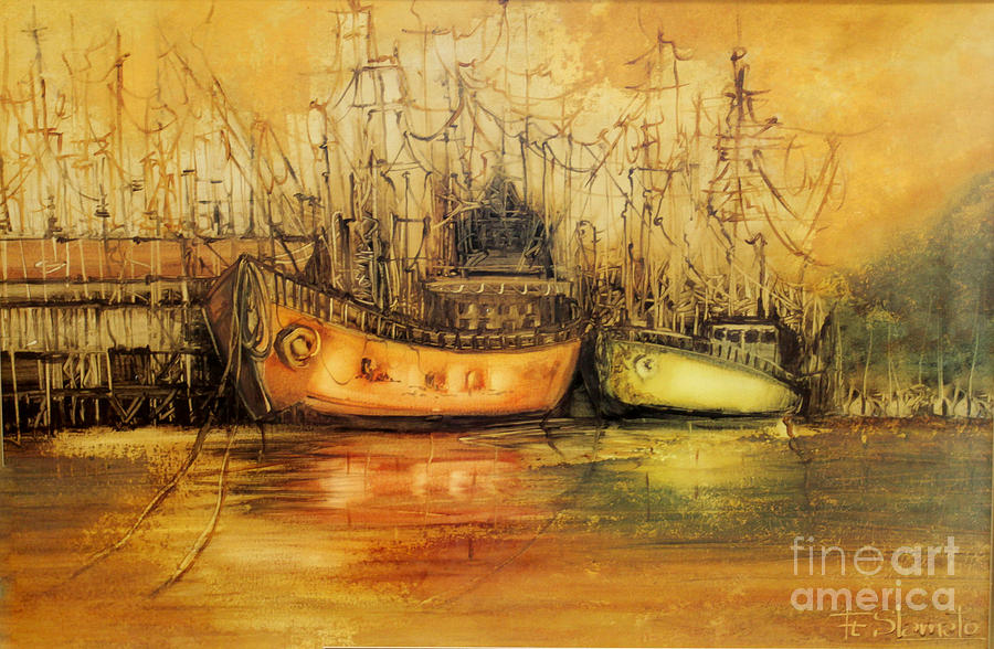 Harbour Painting - Seven Seas by Fatima Stamato