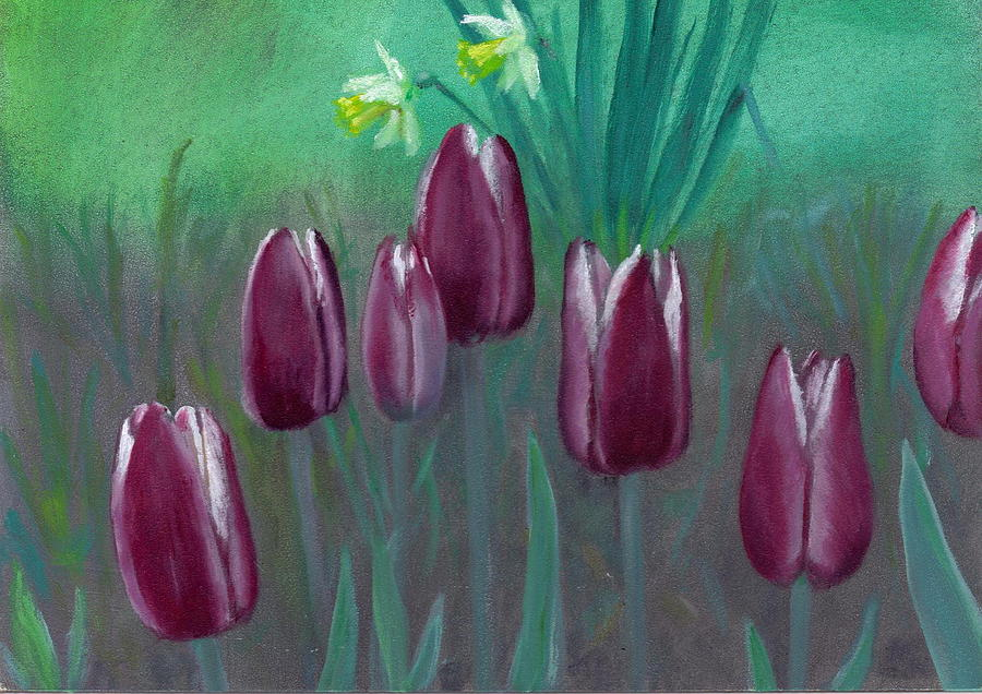 Tulips Painting - Seven Tulips by Laurel Ellis