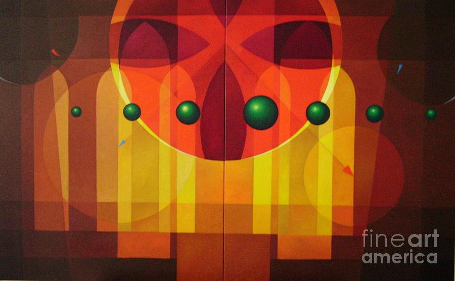 Geometric Abstract Painting - Seven Windows - 2 by Alberto DAssumpcao