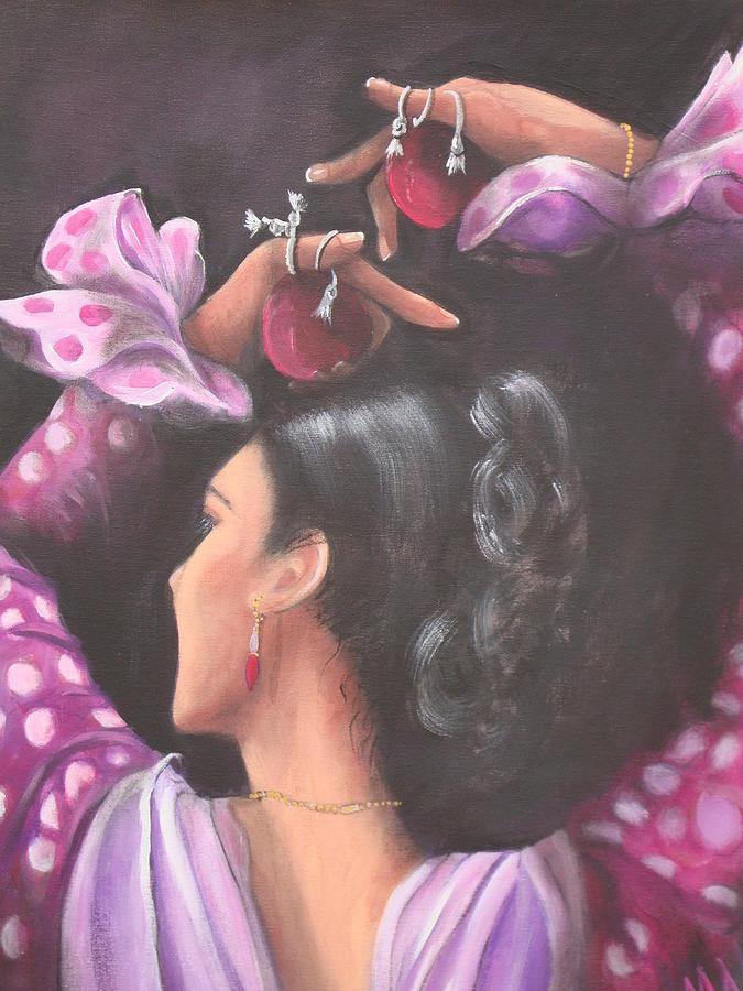 Senorita Painting - Seville Flamenco Dancer by Marlyn Anderson