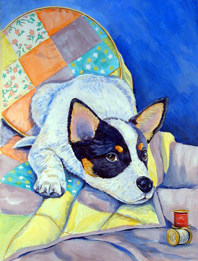 Australian Cattle Dog Painting - Sew Sweet by Lyn Cook