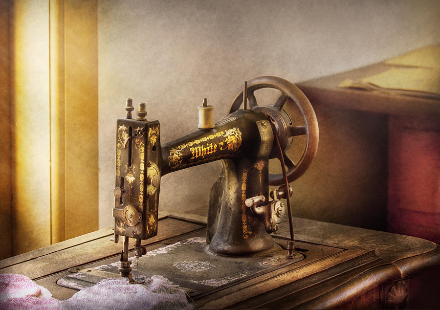 Hdr Photograph - Sewing - A Black And White Sewing Machine  by Mike Savad
