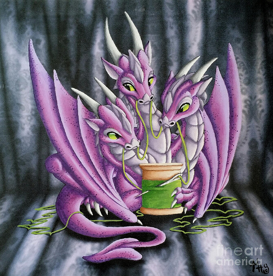 Dragon Painting - Sewing Dragons by Mary Hoy