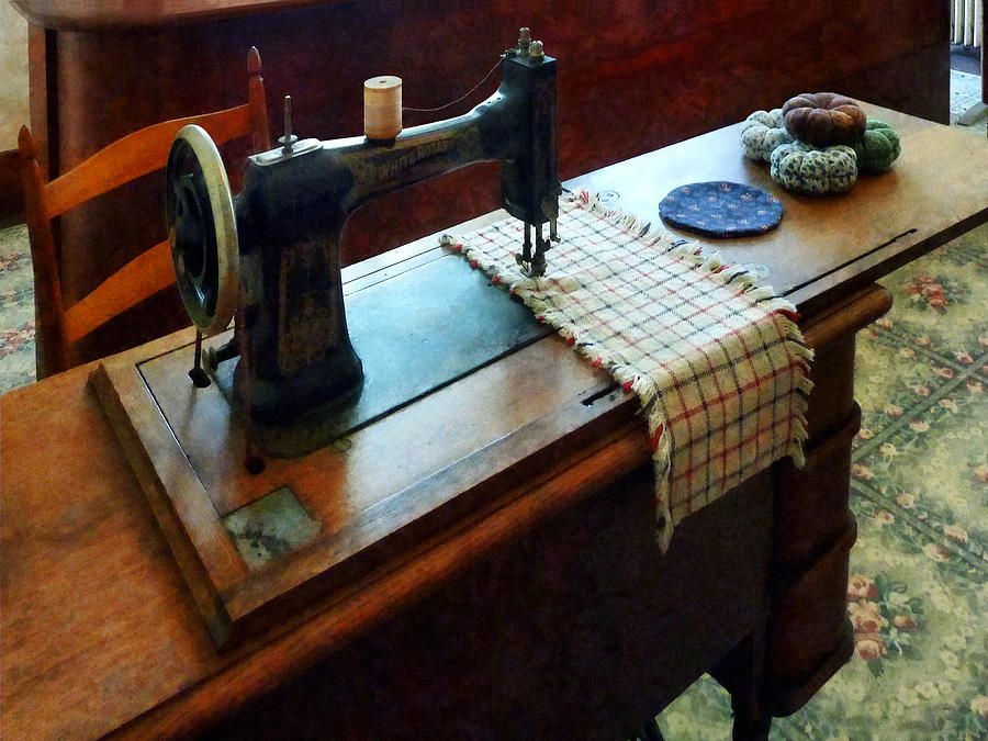 Sewing Machine Photograph - Sewing Machine And Pincushions by Susan Savad