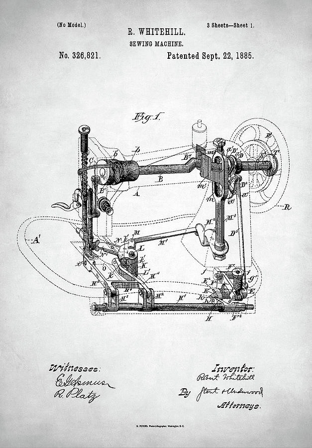 Sewing Machine Patent Digital Art By Zapista Beauteous Patent For Sewing Machine