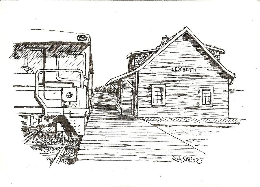 Line Drawing Train : Sexsmith train station drawing by rick stoesz