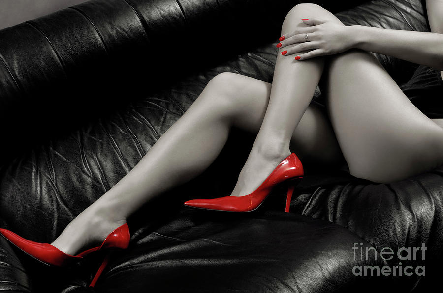 Sexy Long Woman Legs In Red High Heels Art Print Photograph by ...