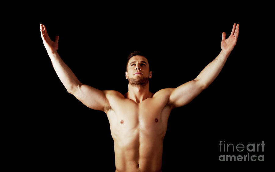 Sexy Muscular Man With Hands Up. Photograph by Piotr Marcinski