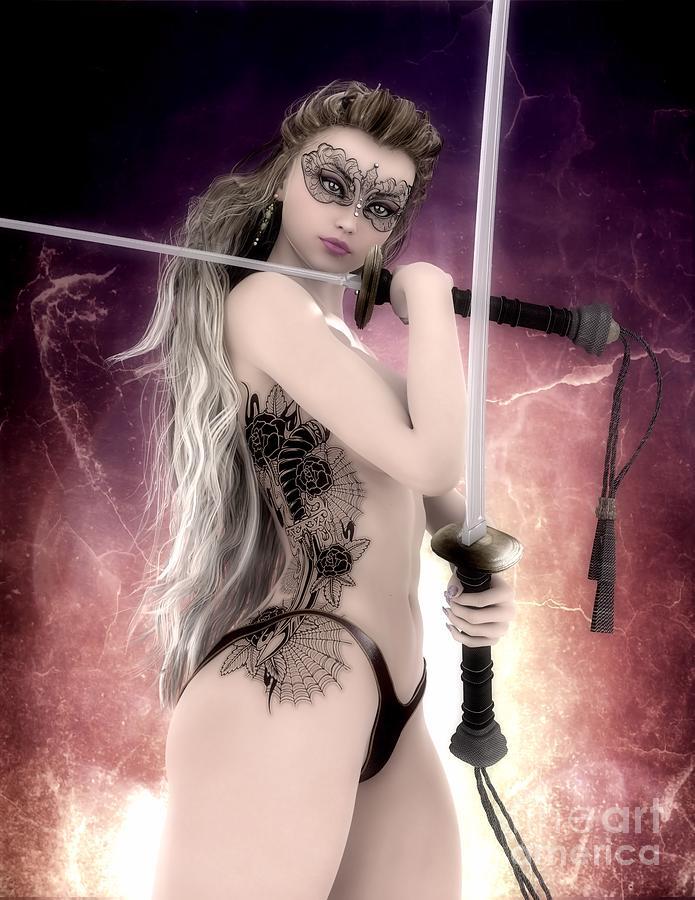 Sexy Digital Art Sexy Samurai Girl With Tattoo And Mask By Brian Raggatt