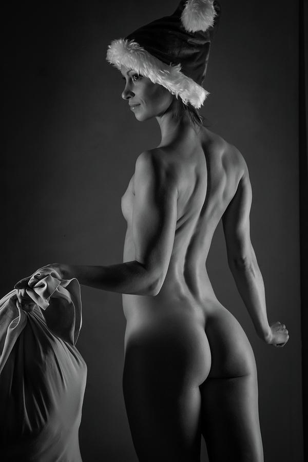 Monochromatic Nude Photograph - Sexy Santa by Blue Muse Fine Art