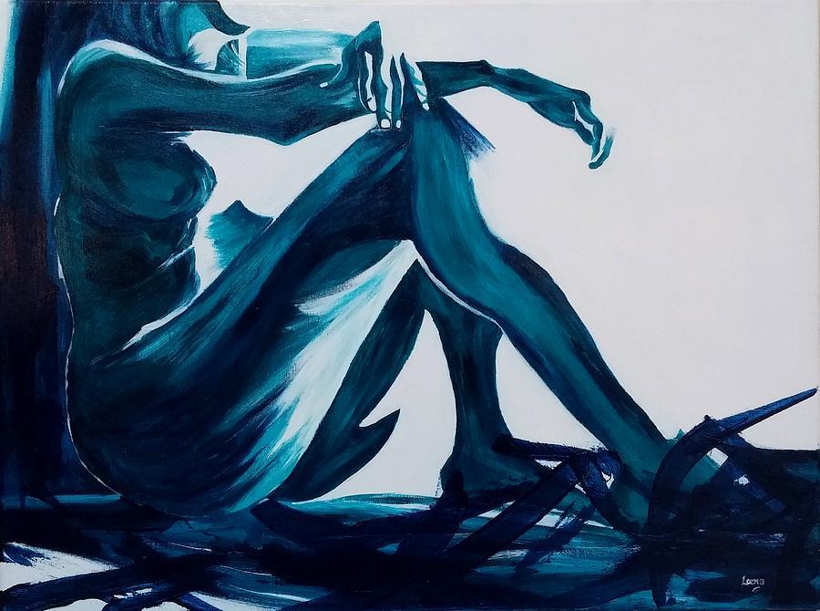 Blue Painting - Sexy Woman by Leena Kewlani