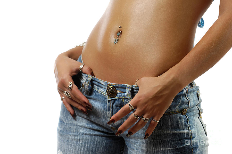 Sexy Woman With Pierced Belly In Blue Jeans Photograph by Oleksiy ...