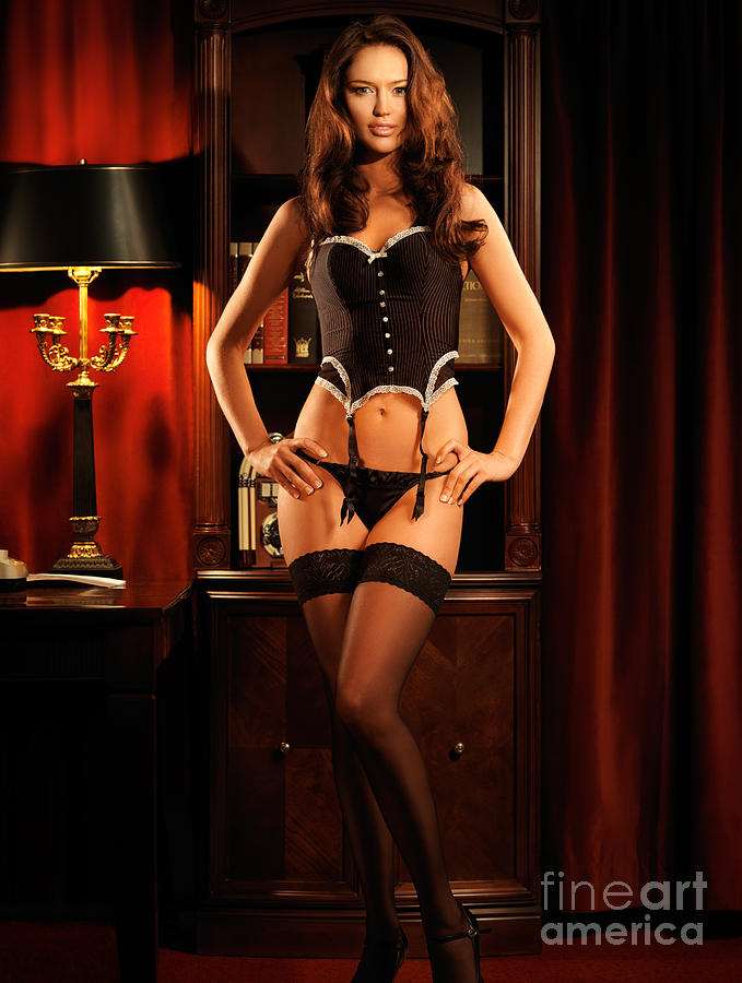Glamour Photograph - Sexy Young Woman In Black Lingerie by Oleksiy Maksymenko