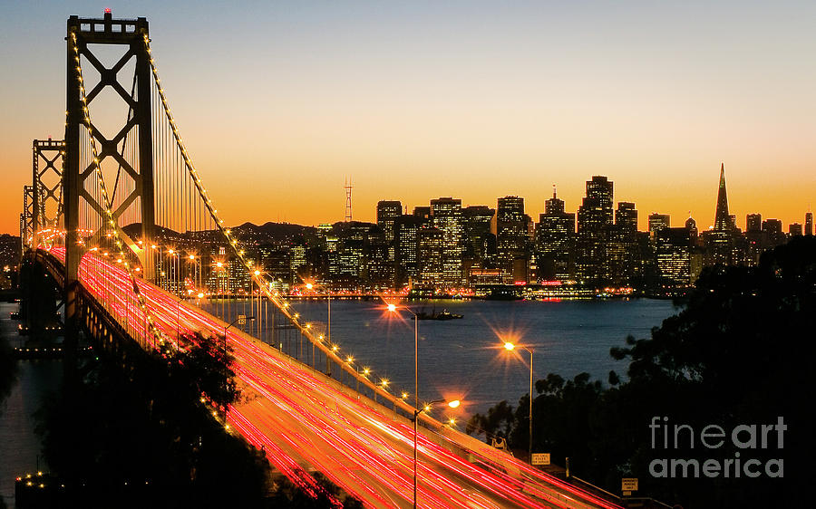 SF Bay Bridge Dusk by Dean Birinyi
