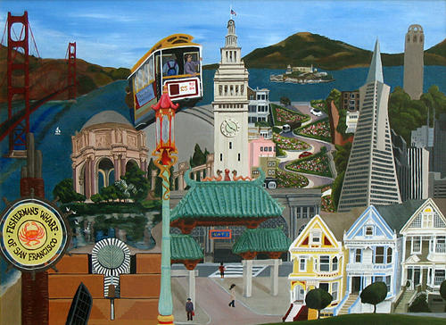 Cityscape Painting - Sf Montage by Veronika Nagy