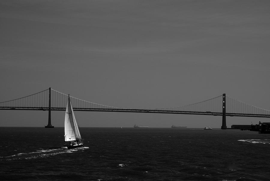 Water Photograph - Sfb Sailng Bay Bridge by Sonja Anderson