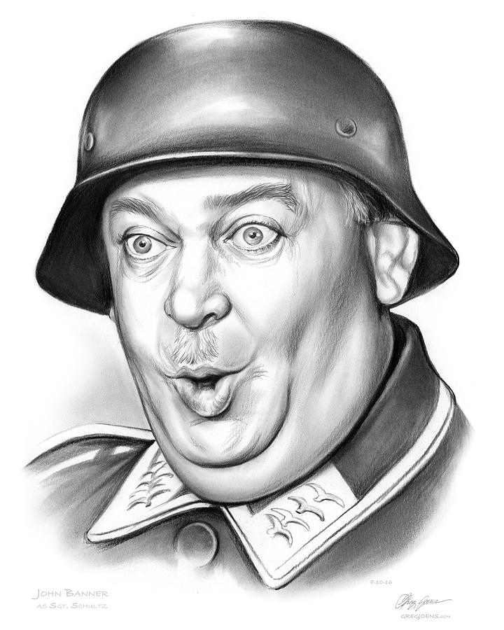 Hogan's Heroes Drawing - Sgt Schultz by Greg Joens