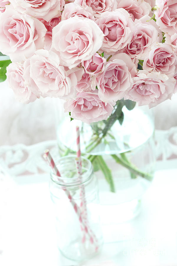 Shabby Chic Cottage Pastel Pink Roses In Clear Vase Romantic