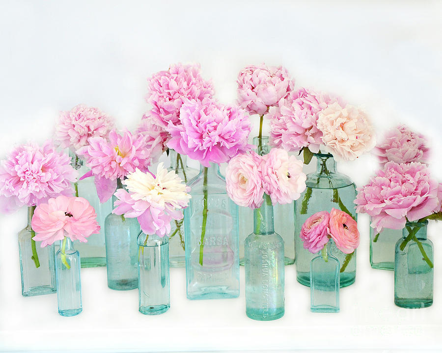 Peony Flowers Photograph - Shabby Chic Cottage Pink Peonies In Mason Jars - Summer Garden Peonies In Vintage Aqua Bottles by Kathy Fornal