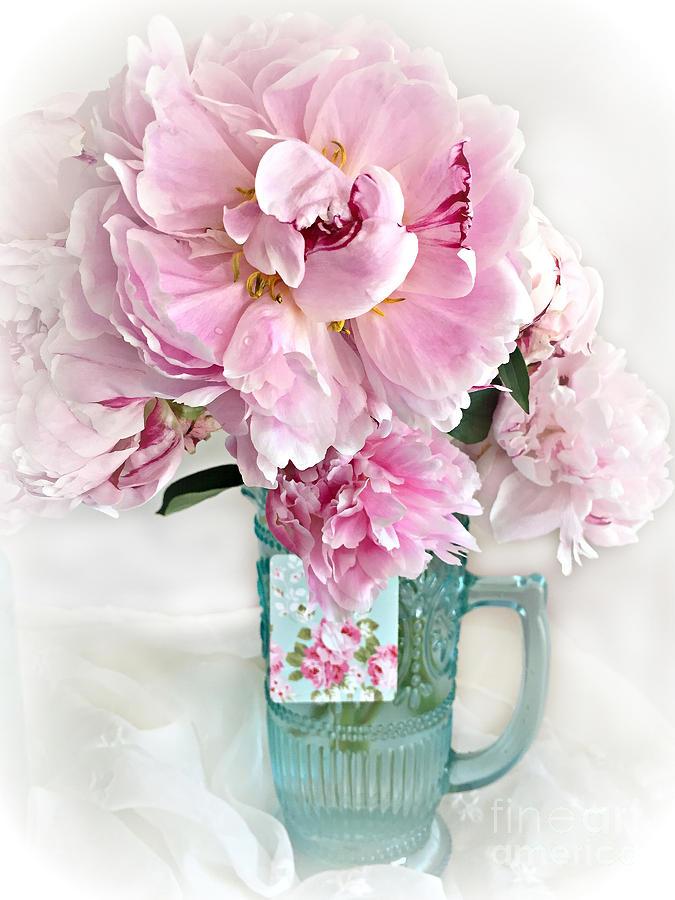Admirable Shabby Chic Cottage Pink Peonies Peony Flower Print Romantic Cottage Pink Aqua Peonies In Vase Interior Design Ideas Lukepblogthenellocom