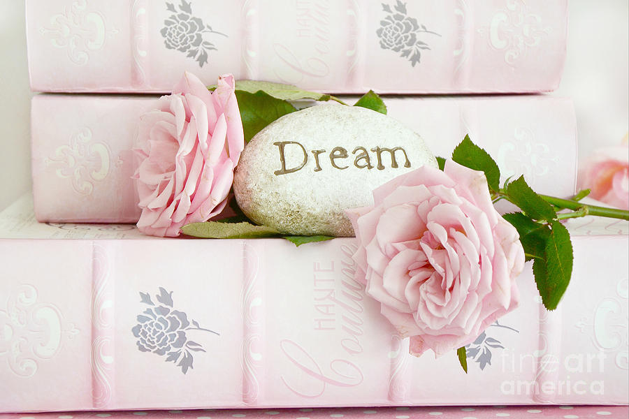 Shabby Chic Photograph - Shabby Chic Cottage Pink Roses On Pink Books - Romantic Inspirational Dream Roses  by Kathy Fornal