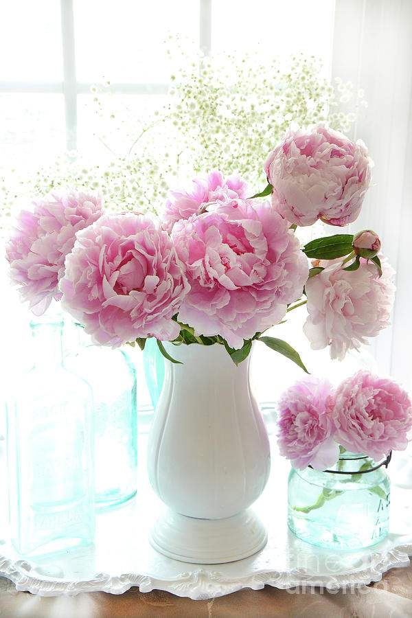 Shabby Chic Cottage Romantic Pink White Peonies In Window Romantic