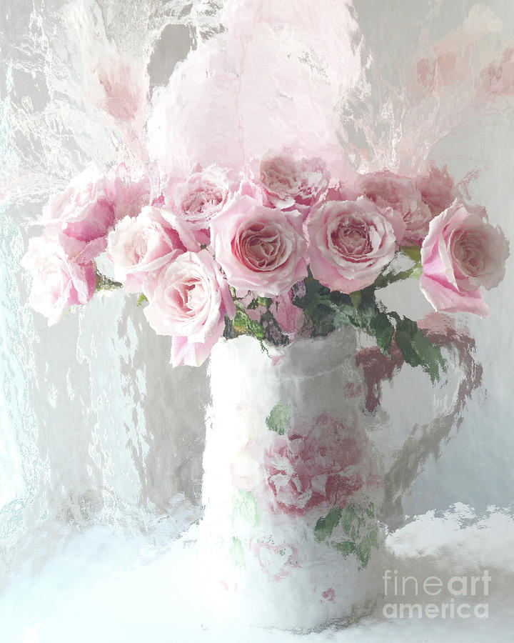 Shabby Chic Impressionistic Romantic Pink Roses In Vase Pink And
