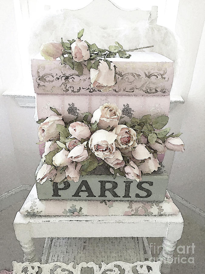 Paris Digital Art - Paris Shabby Chic Pastel Paris Books Roses - Paris Shabby Cottage Watercolor Roses by Kathy Fornal
