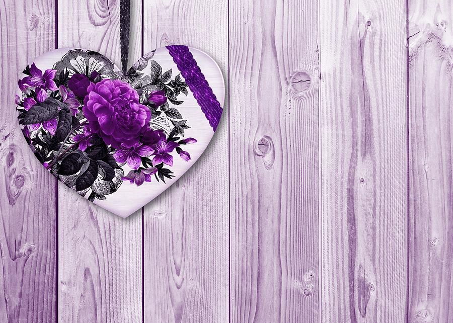 shabby chic purple floral heart on lilac wood background mixed media rh fineartamerica com shabby chic purple wedding shabby chic purple background paper