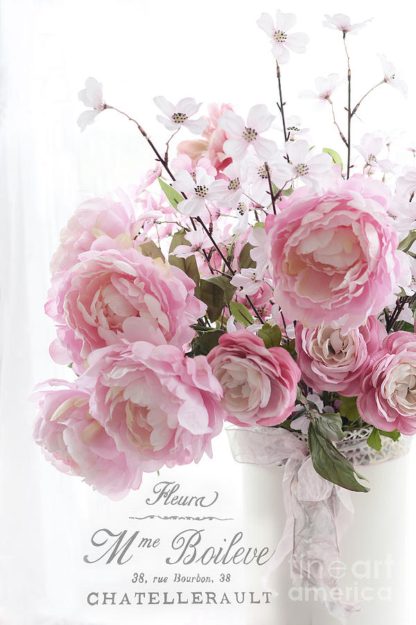 Peonies Pink Pastel Peonies With French Script Paris French Pink