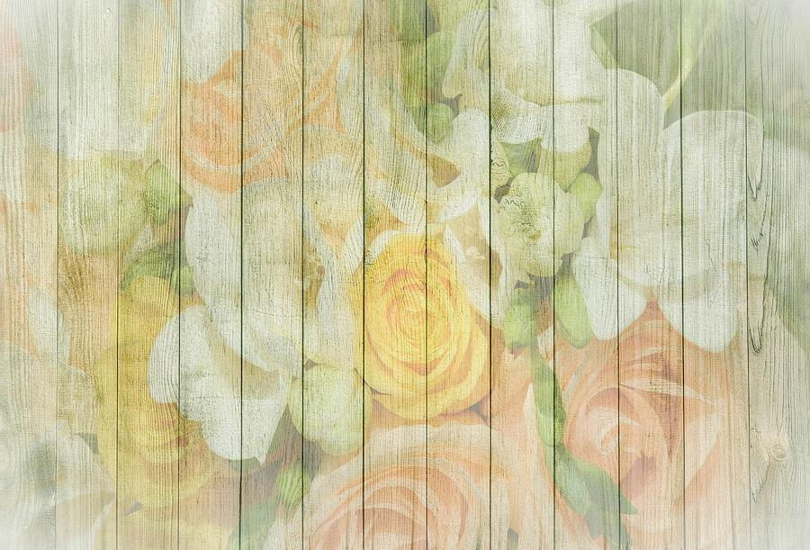 Shabby Chic Spring Pastel Roses On Wood Background Mixed Media By And Vintage Art