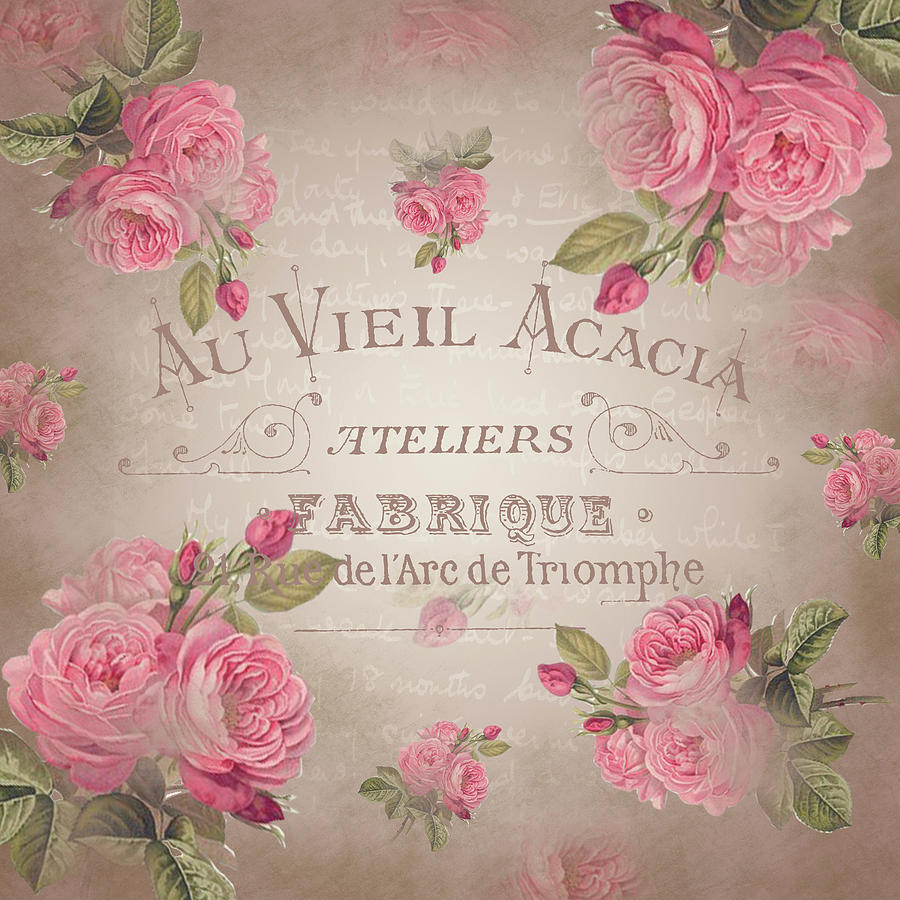 Shabby Chic Vintage French Roses Rose Beige