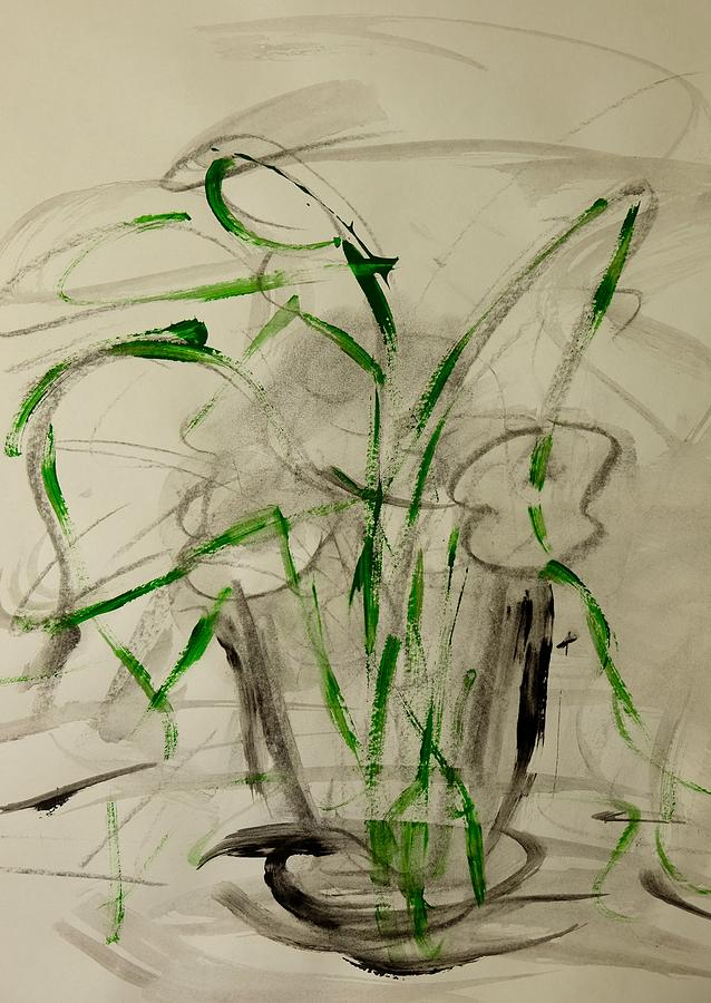 Green Painting - Shadows by Barbara Rose Brooker