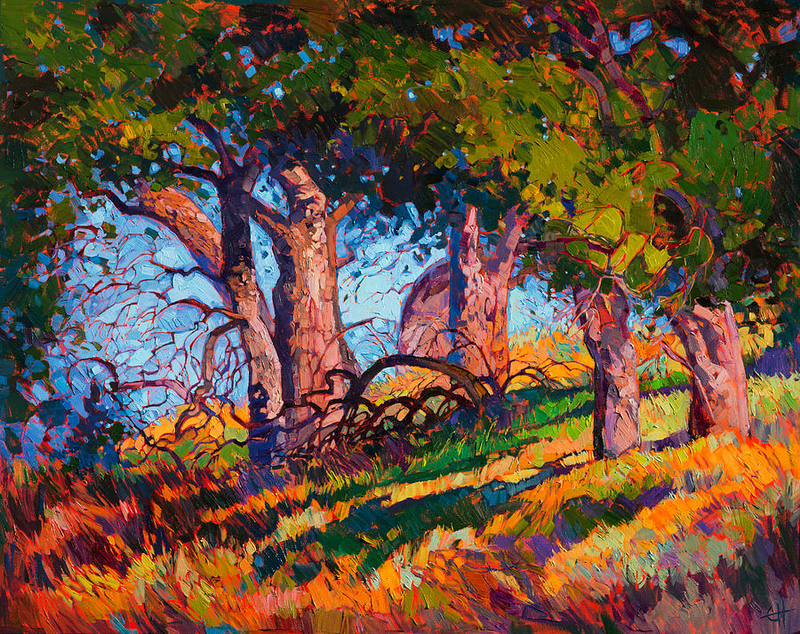 Painterly Painting - Shaded Oak by Erin Hanson