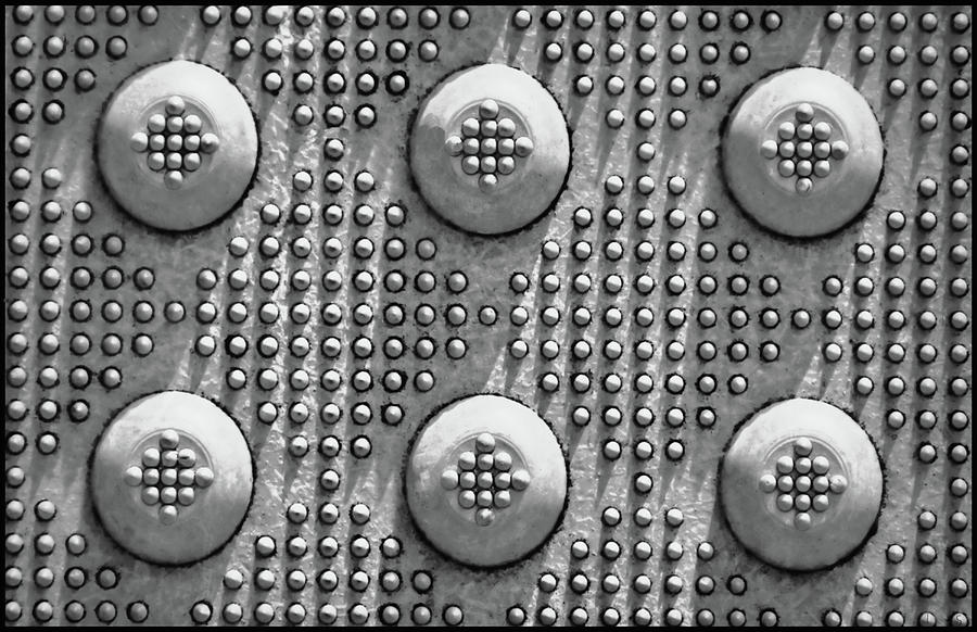 Industrial Photograph - Shades Of Gray Dots With Border by Tony Grider
