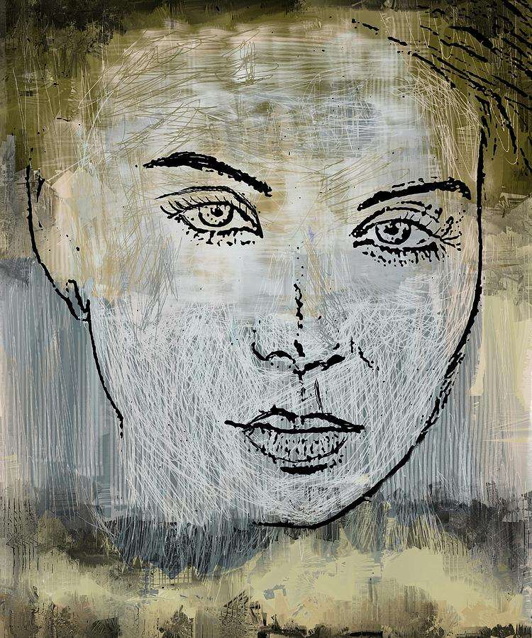 Abstract Female Face Mixed Media - Shades Of Grey And Beige by Eduardo Tavares