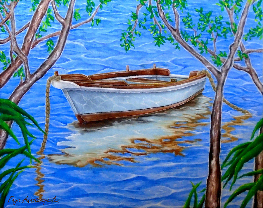 Boat Painting - Shades Of Summer by Faye Anastasopoulou