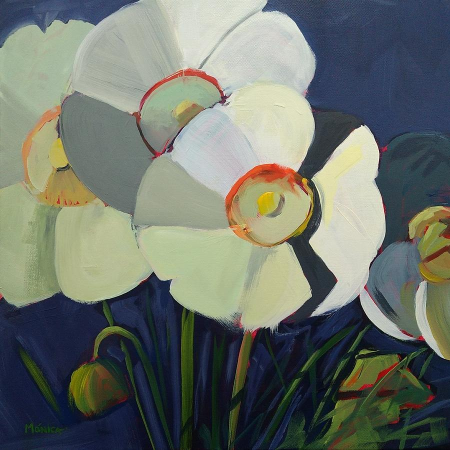 White Poppies Painting - Shades Of White by Monica Linares