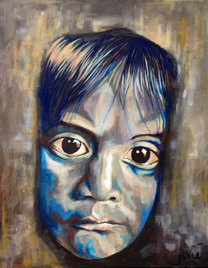 Sad Child Painting - Shades Of Why, Sad Child Painting by Jevie Stegner