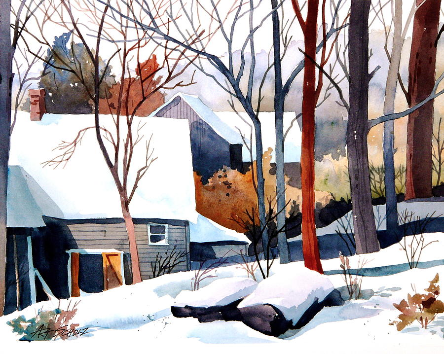 Winter Landscape Painting - Shades of Winter by Art Scholz