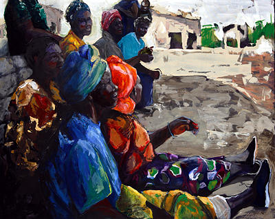 African Village Painting - Shadow Chat by Michelle Winnie