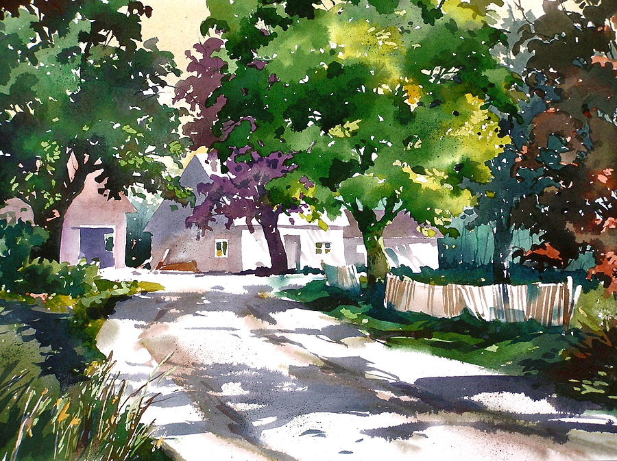 Tree Lined Driveway Painting - Shadow Colors by Art Scholz