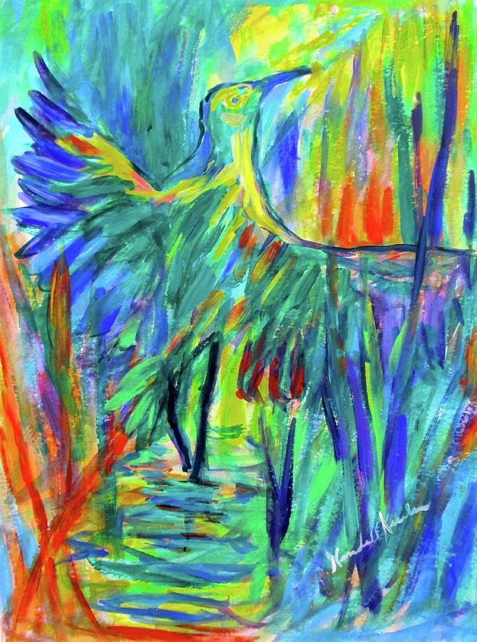 Colorful Painting - Shadow Heron by Kendall Kessler