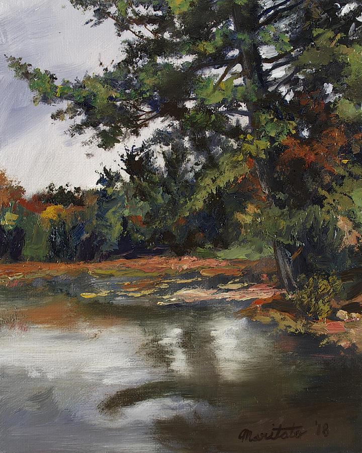 Fall Painting - Shadow Lake Plein Air #3 by Mark Maritato