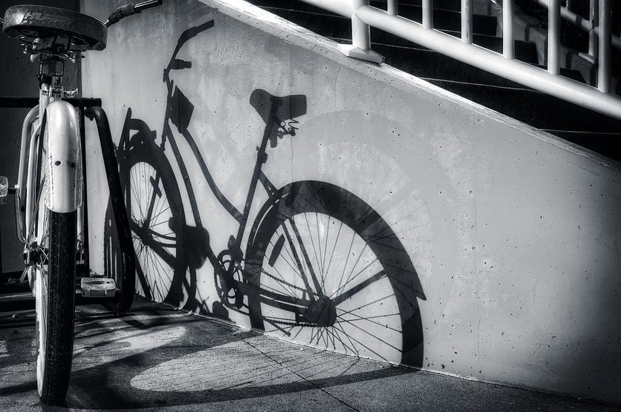 Shadow Of A Bike At Carolina Beach Photograph by Greg Mimbs