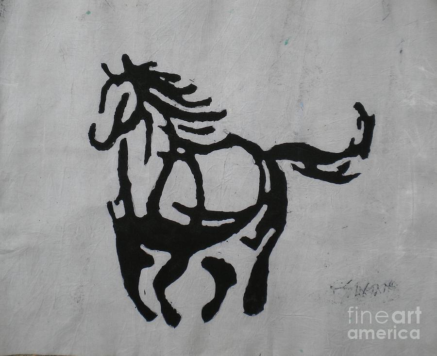 African Painting - Shadow Of A Stallion by Ellis Tayamika Singano